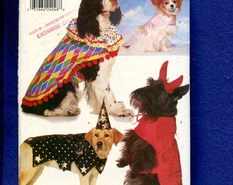 Butterick 4601 Costumes for Dogs Clown Wizard Fairy Princess & Devil Size XS to L Dogs UNCUT