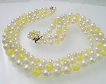 Mid Century Bead Bib Necklace / Simulated Pearls / Translucent Yellow Art Glass Beads /  1960s / Vintage Costume Jewelry