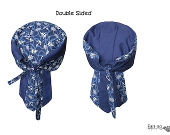 B2 Nautical Print and Navy Cotton Double Sided Skullcap Bandana