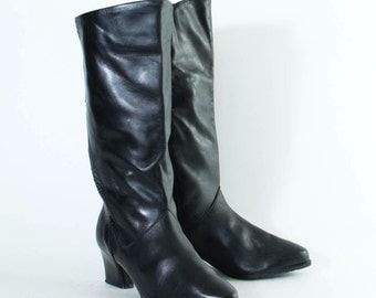 Vintage 1980's Women's Black Leather Long Calf Heeled Boots UK 4 EU 37 US 6