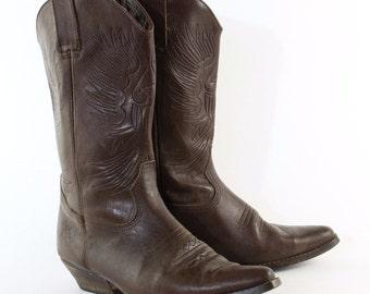 Vintage Brown Real Leather Cowboy Boots Festival Men's UK 9 EU 43 US 10