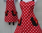 Minnie Mouse Apron Set, Mother Daughter Apron Set, Matching Aprons,