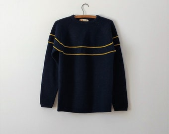 1970s blue ski sweater, vintage wool sweater, small medium