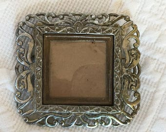 Vintage Silver Scrolling PICTURE FRAME PIN Brooch.  L N Beautiful Scrolling in Two Sizes Around Picture Frame Pin Brooch.