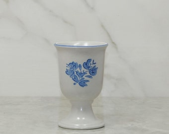 Vintage Pfaltzgraff YORKTOWNE Goblet, Blue and Gray Cup, Stoneware Goblet, Footed Goblet, Wine Cup, Water Goblet, Pfaltzgraff Goblet, Wine