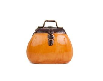 Vintage Miniature Purse Box Orange Porcelain Handbag Pill Case Mini Trinket Box Purse Accessory Small Purse Ceramic Pill Box