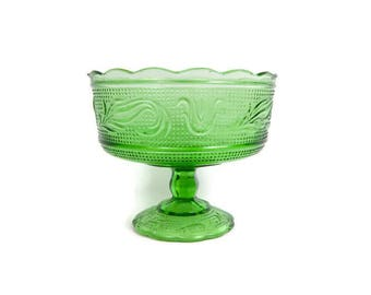 Vintage Green Glass Compote Candy Dish E O Brody Footed Bowl Pedestal Dish Made in USA Wedding Shower