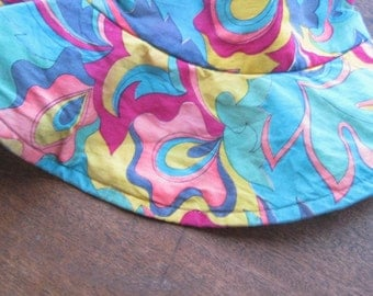 Vintage '60s Swirly Psychedelic Hat for Festivals/Sun/Beach/Craft Fairs~Multicolored Hippie/Funky/Slouchy Hat; Free Ship/U.S.