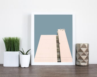 MISSION 12 | Architecture photo | geometric art print | blue and cream decor | large office art | minimalist photography | urban photo print