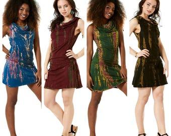 TIE DYE PIXIE Dress, assorted colours, fairy dress, elf dress, short dress, festival dress, hippie mini dress, Tddrcn
