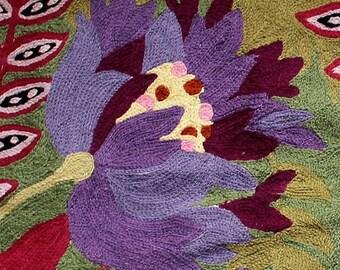 Vintage 90's Anthropologie Wool Embroidered Botanical Rug  3' X 2'