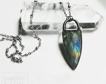 Labradorite Dagger Necklace - Copper
