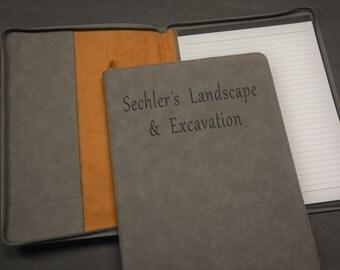 Grey Zip Portfolio, Engraved Portfolio, Personalized Portfolio, Office Gifts, Engraved, Personalized, Padfolio, Portfolio, Notepad