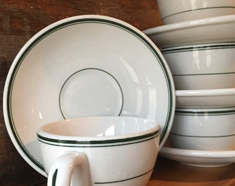 Old Diner Coffee Cup and Saucer, Double Green Lines, Hot Cocoa, Warm Tea, Classic American Restaurant Ware by Jackson China ca. 1930s