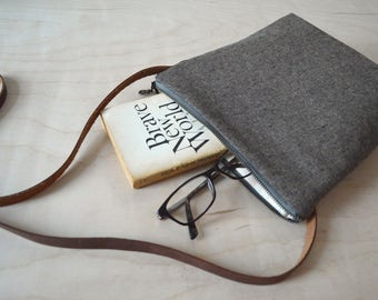 Shoulder Bag in Espresso Linen - Cross Body Purse