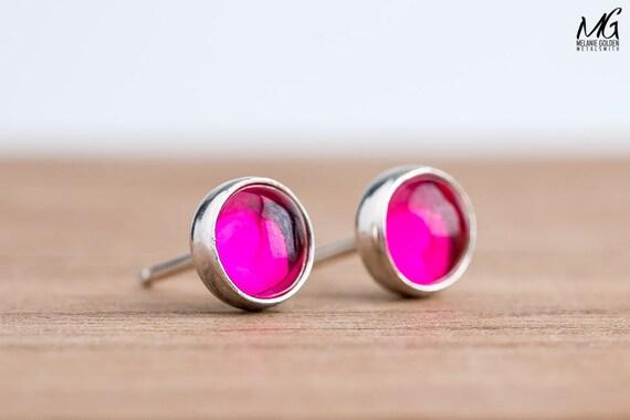 Pink Ruby Gemstone Stud Earrings in Sterling Silver