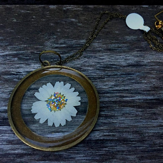 Preserved Glitter Daisy, 50MM large round pendant, bronze necklace chain.