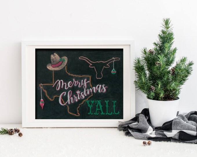 Merry Christmas Y'all! A Print of an Original Chalkboard