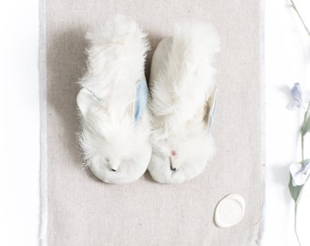 Antique 20s Baby Fur Booties - White Rabbit Fur Bunny Infant Victorian Crib Slippers DEAD STOCK/Original Box New Vintage Blue Gifts for Baby