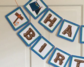 BOYS CAMPING Happy Birthday or Baby Shower Party Banner - Blue Brown - Party Packs Available
