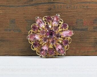 Vintage Pink and Purple Rhinestone Brooch