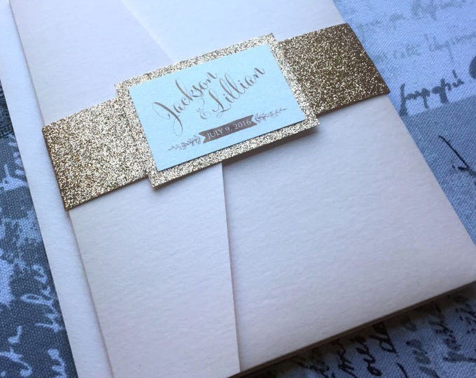 Reserved. 3 Custom Wedding Invitations, Suite Pocket. Rose gold and blush with glitter belly bands.