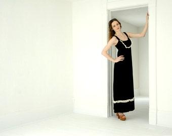 Vintage black velvet maxi dress, sleeveless boho formal sundress, white lace 1970s S