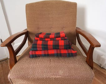 Vintage Flannel Sheet Set Red Plaid // Full Size Flat and Fitted with Pillow Cases/ Cabin Rustic Outdoorsman