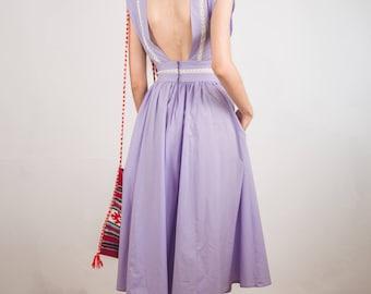 Vintage summer dress,1950s, Full skirt dress,  pinafore dress,open back dress, summer dress, midi dress, Pastel dress, S to XS