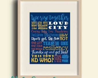 "OKC Thunder 11"" by 14"" Typography Print READY 2 SHIP"