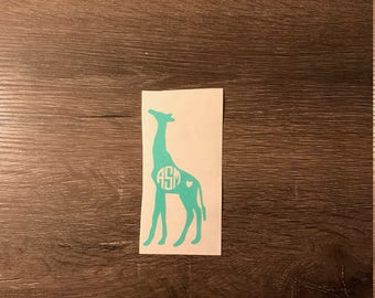 Giraffe Monogram Decal, Heart, Yeti Decal, Car  Monogram Decal, Vinyl Monogram iPhone Sticker