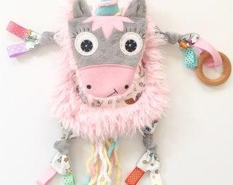 Unicorn mini baby lovey blanket chew play sensory keepsake toy friend