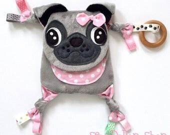 Pug mini baby blanket lovey teething organic ring toy friend