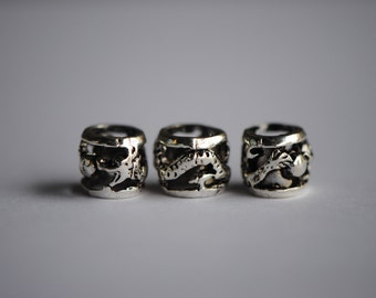 5 Silver Dragon Barrel Beads | Silver Large Hole Beads | Chinese Dragon Beads | Silver Chinoiserie Beads | Asian Beads | 9mm beads