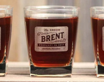 Personalized Groomsmen Whiskey Glasses Gifts Old Fashioned Rocks Glasses SQUARE Scotch Glasses Personalized Groomsman Gifts ANY QUANTITY