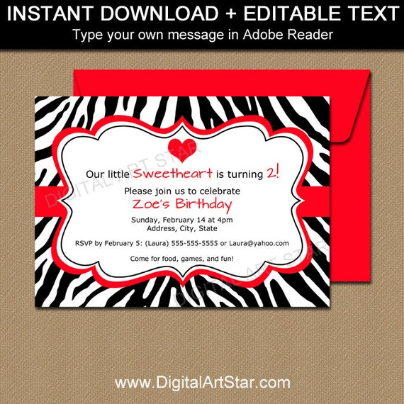 Zebra party invitations valentine zebra invitation template il570xn filmwisefo