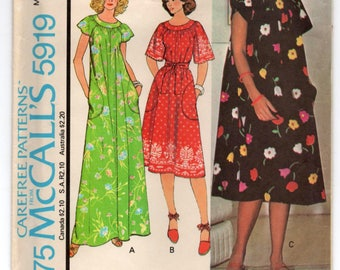 """1970's McCall's Maxi or Summer Dress with tie waist Pattern - Bust 32.5-34"""" - no. 5919"""