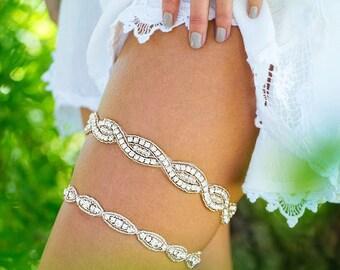 Wedding Garter,Silver Crystal Wedding Garter, Crystal Rhinestone Bridal Garter, Crystal Garter Set, Glam Garter, Silver Garter, Garter Set