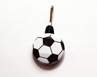 Soccer zipper pull, Soccer Player gift, backpack zipper pull, zipper pull, football zipper charm, black white, soccer, soccer team (7516)