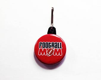 Football Mom zipper pull, Gift for Mom, backpack zipper pull, zipper pull, charm, red, stocking stuffer, Mothers Day Gift (7543)