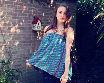 Bohemian Top Tube Shirt Size S - XL Mexican Textile Fabric Tunic Blue Boho Hippie Layering Organic Eco-Friendly Clothing OOAK