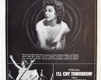 I'LL CRY TOMORROW Starring Susan Hayward Eddie Albert Movie Theater Print Ad Ready To Frame Additional Ads Ship Free