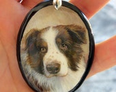 Dog Portrait as Wearable Art//Personalized Pet Painting Made-to-Order from your photo//Dogs*Horses*Cats*Pets*Border Collie*Animals*Jewelry
