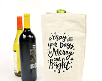 Wine Tote - Recycled Cotton Canvas - Merry & Bright
