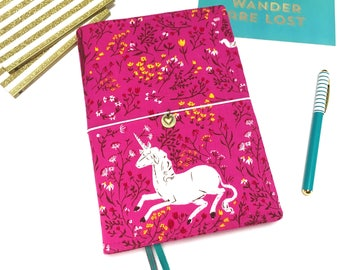 Unicorn A5 Hobonichi Cousin Cover. Leuchtturm 1917 Cover. Book Cover. Vegan Bullet Journal Cover. Pink Planner Cover. Fabric Notebook Cover