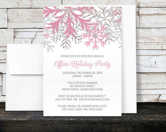 Holiday Party Invitations - Pink Silver Snowflake design on White for Christmas or any Winter Party - Printed Invitations