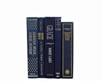 Navy BLue Antique Decorative Books, Vintage Book Decor, BOoks for Decoration, Instant Library Old Book Collection, Navy book set, Books