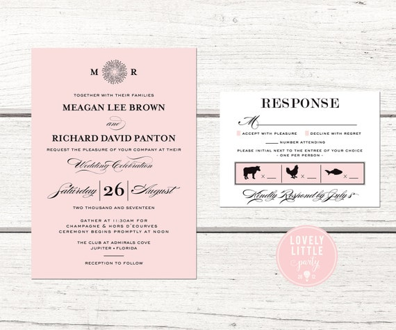 Meagan Monogram Collection, Wedding Invitation and RSVP design - DIY Printable or Printed Option - Choose colors - Lovely Little Party
