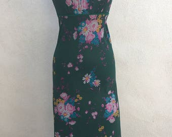 Vintage At Home Wear Sears maxi nightgown green florals or sheer dress  sz S