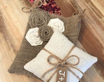 Wedding Ceremony Set- Cotton Ring Bearer Pillow & Burlap Flower Girl Bag- Natural Wedding- Rustic/Shabby Chic/Woodland- Personalized